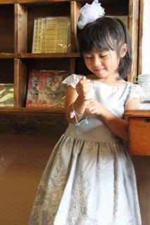 (G-110-26)上品な刺繍のメゾピアノドレス110cm