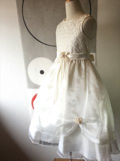 (G-130-36)オフホワイトのドレス130cm