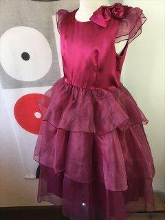 (G-130-47)ワインレッドのドレス130cm