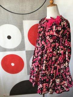 (G-120-72)メゾピアノの総柄のドレス120cm