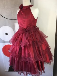 (G-110-56)シックなレッドのドレス110cm