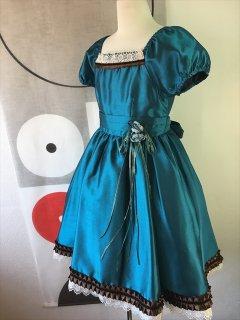 (G-130-63)シックなブルーのドレス130cm