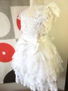 (G-120-102)ホワイトレースのドレス120cm