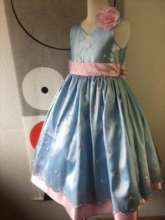 (G-130-86)ピンクのドット柄のドレス130cm