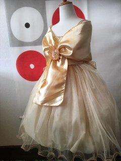 (G-130-92)シックなゴールドのドレス130cm