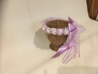 (K-48.49)パープルのお花のヘアリング