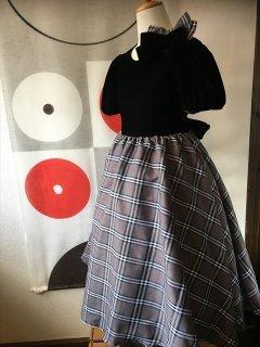 (G-130-96)ベロアのチェックのドレス130cm