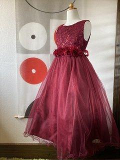 (G-130-100)ボルドーのお花のドレス130cm