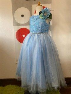 (G-130-102)レースとスパンコールのドレス130cm