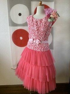 (G-130-108)ピンクの華やかなドレス130cm