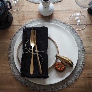 テーブルナフキン フリンジ付きブラック