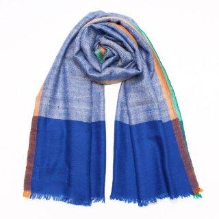 KALI◇手織り◇カシミヤ/パシュミナ100%|ストール|チェック|ブルー/ホワイト