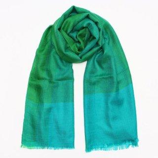 UMA◇手織り◇カシミヤ/パシュミナ100%|ストール|チェック|ターコイズ/グリーン