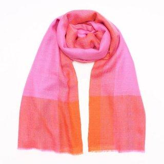 UMA◇手織り◇カシミヤ/パシュミナ100%|ストール|チェック|ピンク/オレンジ