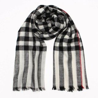 NILAMI◇手織り ハンドメイド◇カシミヤ/パシュミナ100%|ストール|チェック|ブラック/ホワイト