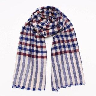 CATH◇手織り ハンドメイド◇カシミヤ/パシュミナ100%|ストール|チェック|ホワイト/レッド&ブルー