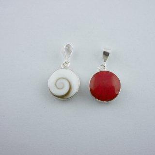 シヴァアイ&ドライコーラル(珊瑚)|ラウンド(丸型) ペンダントトップ ハンドメイド|ShivaEye|Shell&Stone