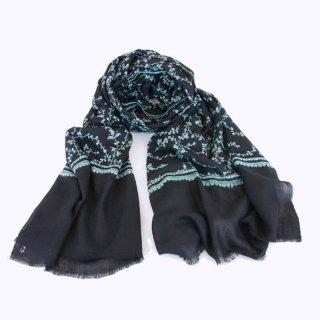 カシミヤ 手織り ストール|一品モノ|ジャリ 手刺繍 パシュミナ|生地:ブラック|刺繍:緑色(2種)