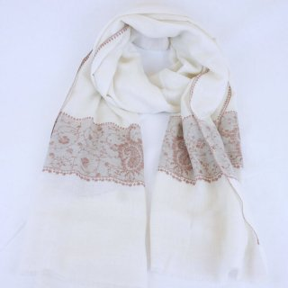 カシミヤ 手織り ストール|一品モノ|ボーダー 手刺繍 パシュミナ|生地:オフホワイト 一部ネイチャー|刺繍:茶色