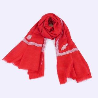 カシミヤ 手織り ストール|一品モノ|ボーダー 手刺繍 パシュミナ|生地:ガーネットレッド|刺繍:ピンク色/薄緑色/薄赤色