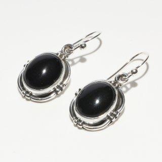 オニキス SV925|漆黒の輝き|ラウンド(丸型)  フックピアス ハンドメイド|Afghan Earring(アフガン イヤリング)