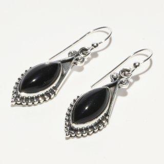 オニキス SV925|漆黒の輝き|オーバル(楕円型) フックピアス ハンドメイド|Afghan Earring(アフガン イヤリング)