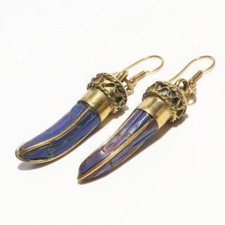 角型アフガントラディショナルデザインピアス|ブルー 真鍮製 フックピアス|ハンドメイド|Afghan Earring