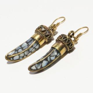 角型アフガントラディショナルデザインピアス|ブラック 真鍮製 フックピアス|ハンドメイド|Afghan Earring