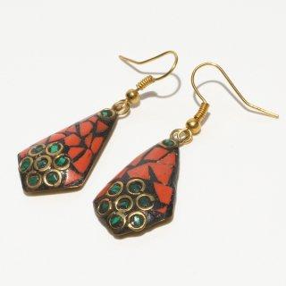 ひし形アフガントラディショナルデザインピアス|オレンジ&グリーン 真鍮製 フックピアス|ハンドメイド|Afghan Earring