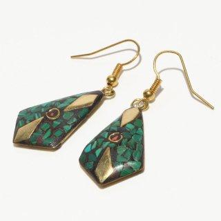ひし形アフガントラディショナルデザインピアス|グリーン 真鍮製 フックピアス|ハンドメイド|Afghan Earring