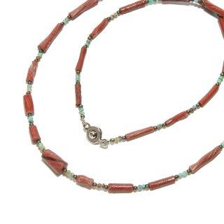 Afghan Necklace(アフガンネックレス)|ローマングラス|ローマ帝国のアンティーク|マルーン|20inch|515mm ◇手作り ハンドメイド◇天然石