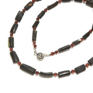 Afghan Necklace(アフガンネックレス)|ローマングラス|ローマ帝国のアンティーク|ブラック|20inch|505mm  ◇手作り ハンドメイド◇天然石