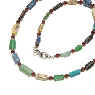 Afghan Necklace(アフガンネックレス)|ローマングラス|ローマ帝国のアンティーク|グリーン|20inch|515mm ◇手作り ハンドメイド◇天然石