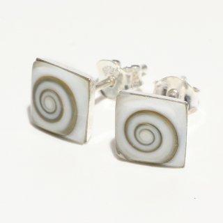 シヴァアイ|四角型 スタッドピアス|天然石 ハンドメイド|Shiva Eye|Shell&Stone|