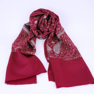 手刺繍 ソズニ刺繍 ジャリ|メリノウール 100% ストール|生地:赤|刺繍糸(2色):水色/白色