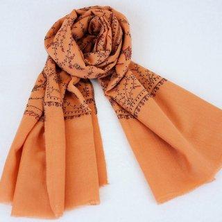 手刺繍 ソズニ刺繍 ジャリ|メリノウール 100% ストール|生地:コーラル|刺繍糸(4色):紫色/オレンジ色/深緑色/黄色