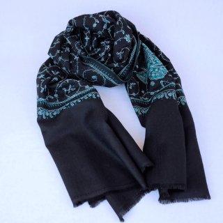 手刺繍 ソズニ刺繍 ジャリ|メリノウール 100% ストール|生地:黒(ブラック)|刺繍糸(2色):緑色/白色