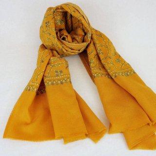 手刺繍 ソズニ刺繍 ジャリ|メリノウール 100% ストール|生地:ダークオレンジ|刺繍糸(4色):緑色/白色/ピンク色/黄色