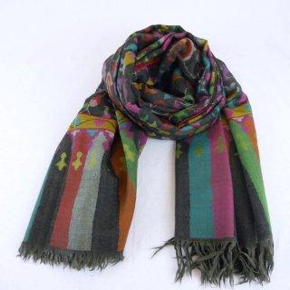 カニ織 ジャマワール ショール|カシミヤ 手織り パシュミナ|カシミール|ブラック