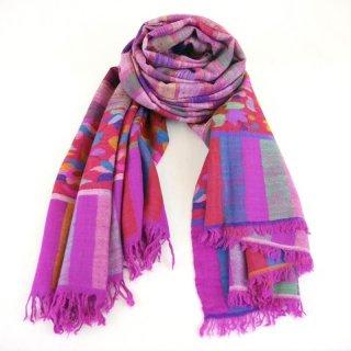 カニ織 パルダール ショール|カシミヤ 手織り&絣(かすり)&ザリ パシュミナ|カシミール|ピンク