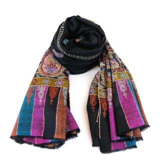カシミヤ 手織り ショール|ボーダー刺繍 ジャマワール ブティ パシュミナ|生地:ブラック 刺繍糸(13色)