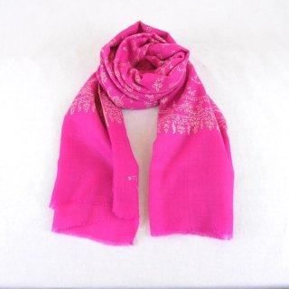 カシミヤ 手織り ストール|ジャアリ 手刺繍 パシュミナ|生地:ピンク|刺繍(1色):クリーム色