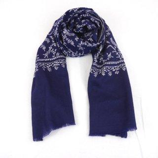 カシミヤ 手織り ストール|ジャアリ 手刺繍 パシュミナ|生地:紺|刺繍(1色):白色(2)