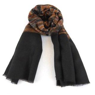 KATIE◇手織り◇カシミヤ/パシュミナ100%|ストール|IKAT(絣)|ブラック系虎柄カラー
