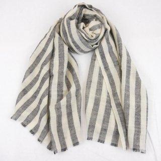 DARIA◇手織り◇カシミヤ/パシュミナ100%|ストール|ストライプ|オフホワイト/ブラック