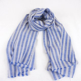 DARIA◇手織り◇カシミヤ/パシュミナ100%|ストール|ストライプ|ブルー/シルバー