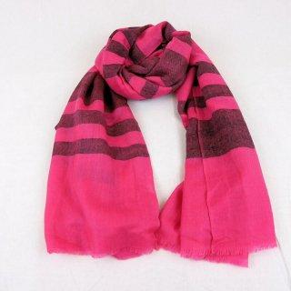 ELENA◇手織り◇カシミヤ/パシュミナ100%|ストール|ストライプ|ピンク/ブラック