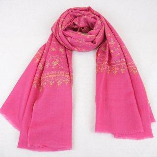 カシミヤ 手織り ストール|ジャアリ 手刺繍 パシュミナ|生地:ピンク|刺繍(3色):緑色/黄色/オレンジ色