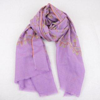 カシミヤ 手織り ストール|ジャアリ 手刺繍 パシュミナ|生地:藤色|刺繍(4色):茶色/黄色/オレンジ色/緑色