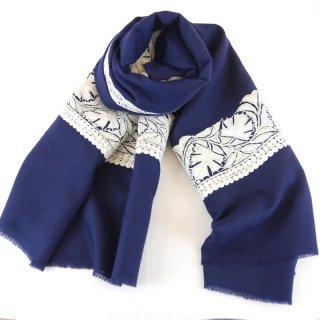 カシミヤ 手織り ショール|ボーダー刺繍 ザリ 手刺繍 パシュミナ|生地:紺|刺繍糸(1色):シルバー
